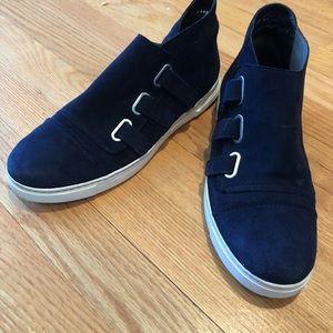 Stuart Weitzman Navy Suede Buckle Sneakers